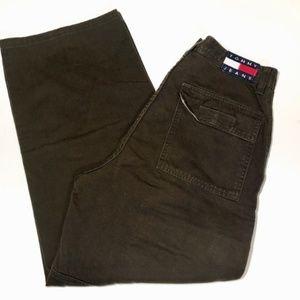 Tommy Hilfiger Cargo Pants Boys Logo Vintage Green